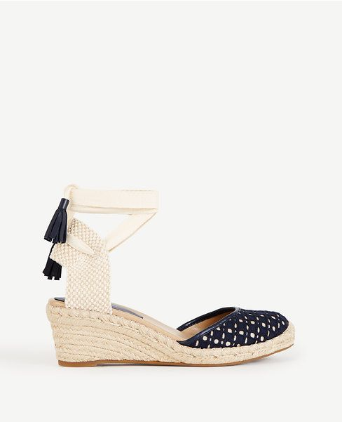 Ann Taylor - Topped with wraparound ankle ties, our espadrille wedge
