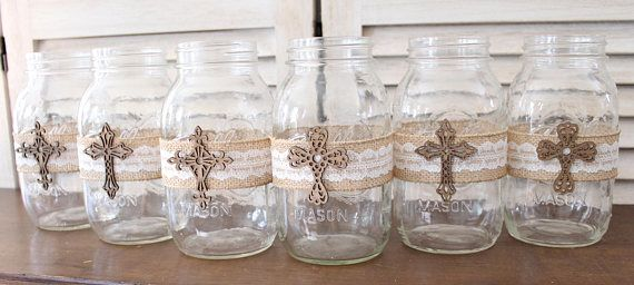 Baptism Centerpiece Mason Jar Wraps rustic baptism
