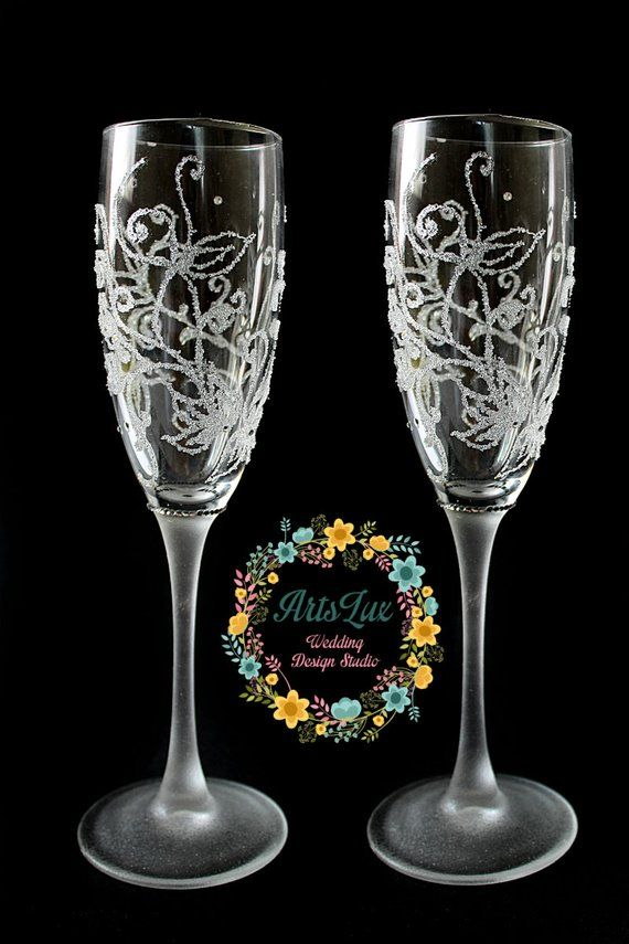 Winter Wedding Champagne Glasses Hand Painted Frosty Wedding