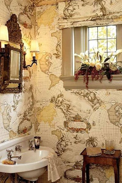Nautical Bath world Map Wallpaper