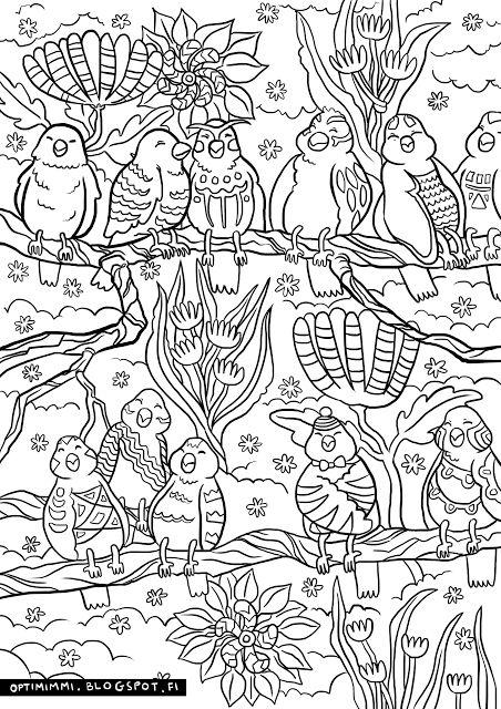 OPTIMIMMI | A free coloring page of birds and flowers / Ilmainen värityskuva linnuista ja kukista