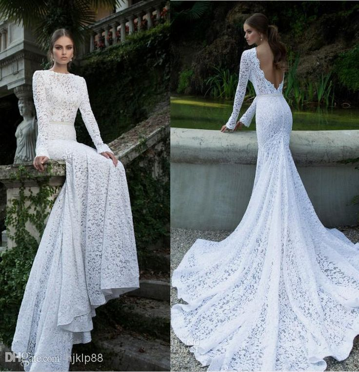 Cool Discount White Vintage Lace Bateau Ribbon Backless Mermaid Berta Bridal Winter Long Sleeve Wedding Dresses Wedding