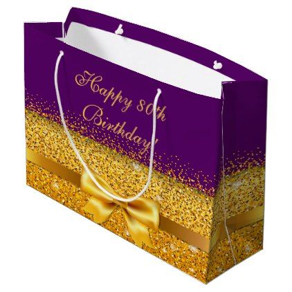 80th Birthday With Gold Bow On Chic Purple Large Gift Bag