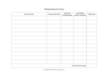Use this form to keep track of the outstanding invoices owed to your company. Excel version has the formula already embedded to total up the amount owed from all clients. Free to download and print