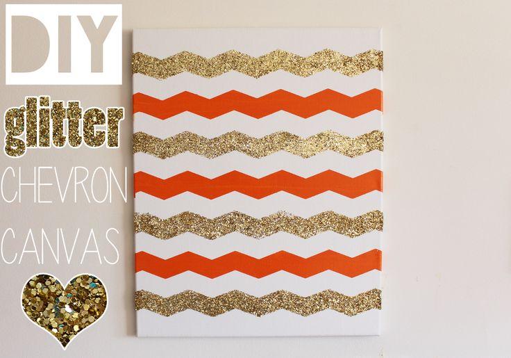 DIY Glitter Chevron Canvas (Home Decor) Tutorial   Video