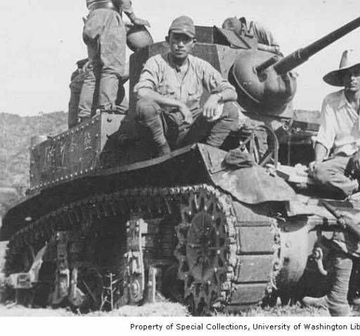 Japanese soldiers with tank, Attu Island, ca. 1943 :: Alaska, Western Canada and United States