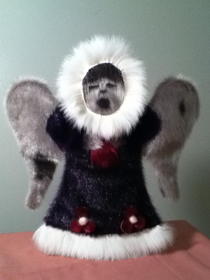 Inuit made sealskin angel by Lucy Nigiyok