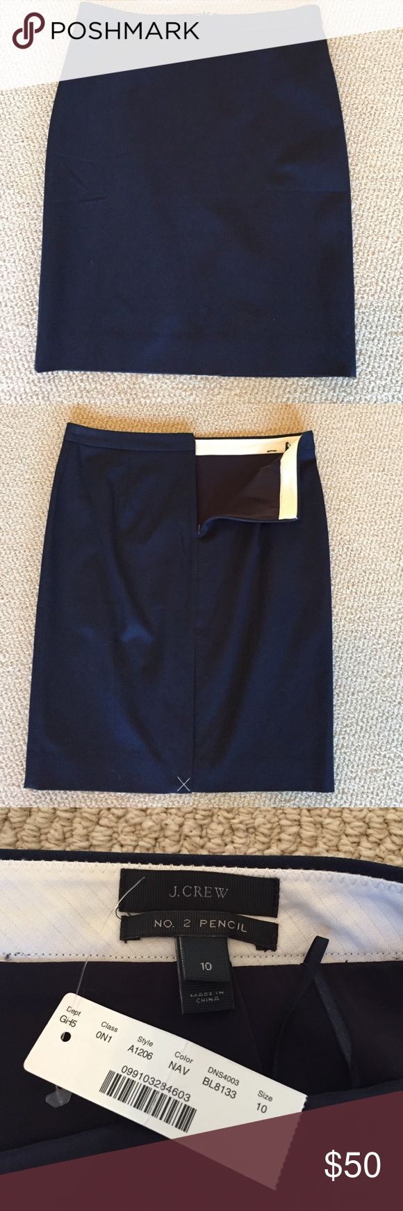 NWT J.Crew Navy Blue No. 2 Pencil Skirt Brand new - back kick vent still sewn shut. Navy blue. No. 2 pencil skirt from J.Crew. Back zip with hook and eye closure. 58% cotton, 38% viscose and 4% spandex J. Crew Skirts Pencil