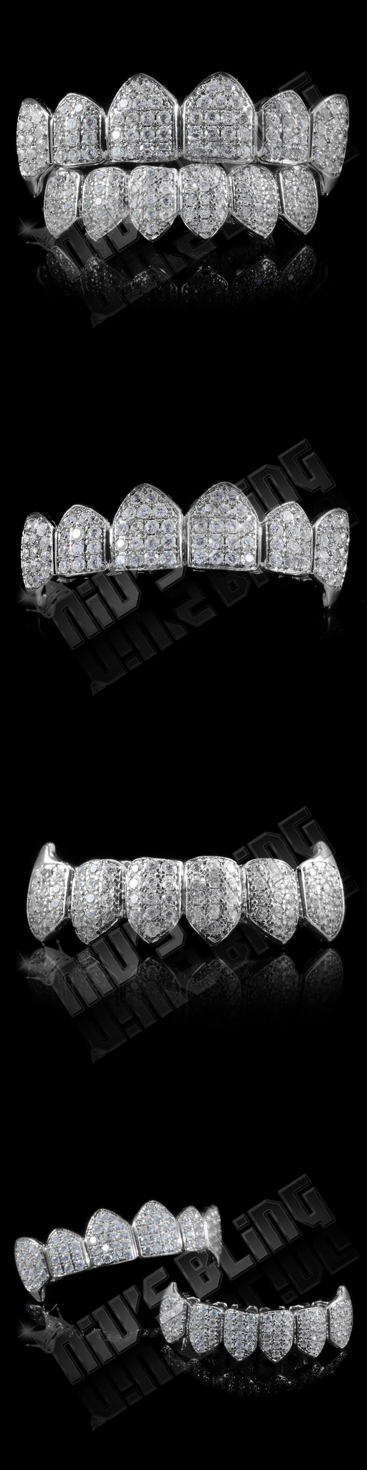 Grillz Dental Grills 152808: 18K White Gold Plated High Quality Cz Vampire Fang Top Bottom Grillz Teeth BUY IT NOW ONLY: $49.99