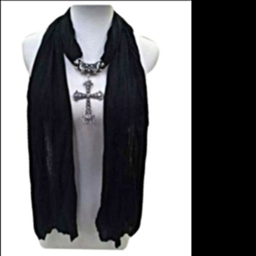 This is a beautiful scarf with cross charm. Will pre-order will  ship in 10 business days