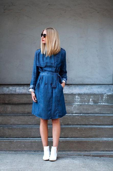 トレンチをワンピース風に♡春のファッション アイテム デニムコート コーデを集めました!