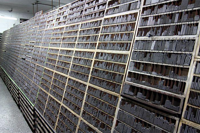 Wai Che Printing Company, Hong Kong, Storage of movable type characters