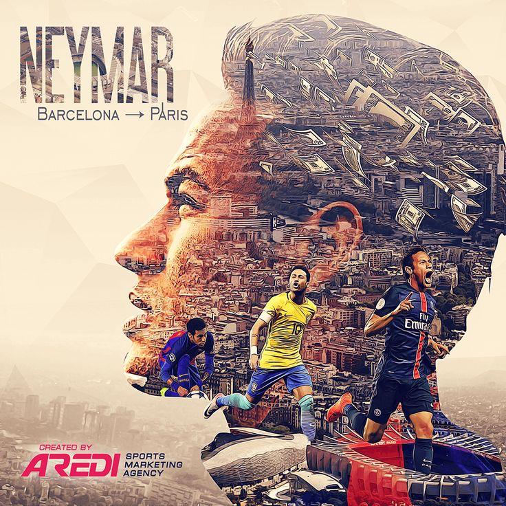 Neymar PSG, Barcelona, sports social media design, graphics