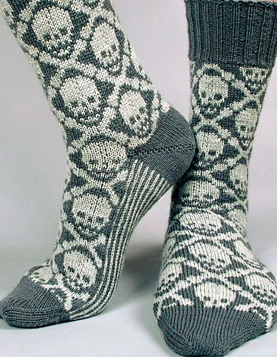 Ravelry: Hot Crossbone Socks pattern by Camille Chang - colourwork sock obsession