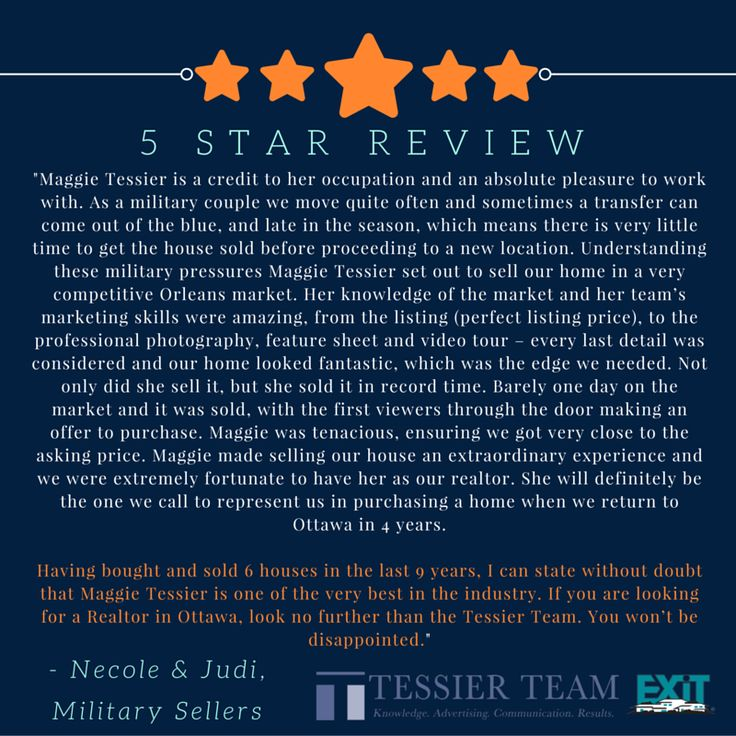 """5 Star Review from some Military clients for Maggie! """"Having bought and sold 6 houses in the last 9 years, I can state without doubt that #MaggieTessier is one of the very best in the industry. If you are looking for a #Realtor in #Ottawa, look no further than the #TessierTeam . You won't be disappointed."""""""