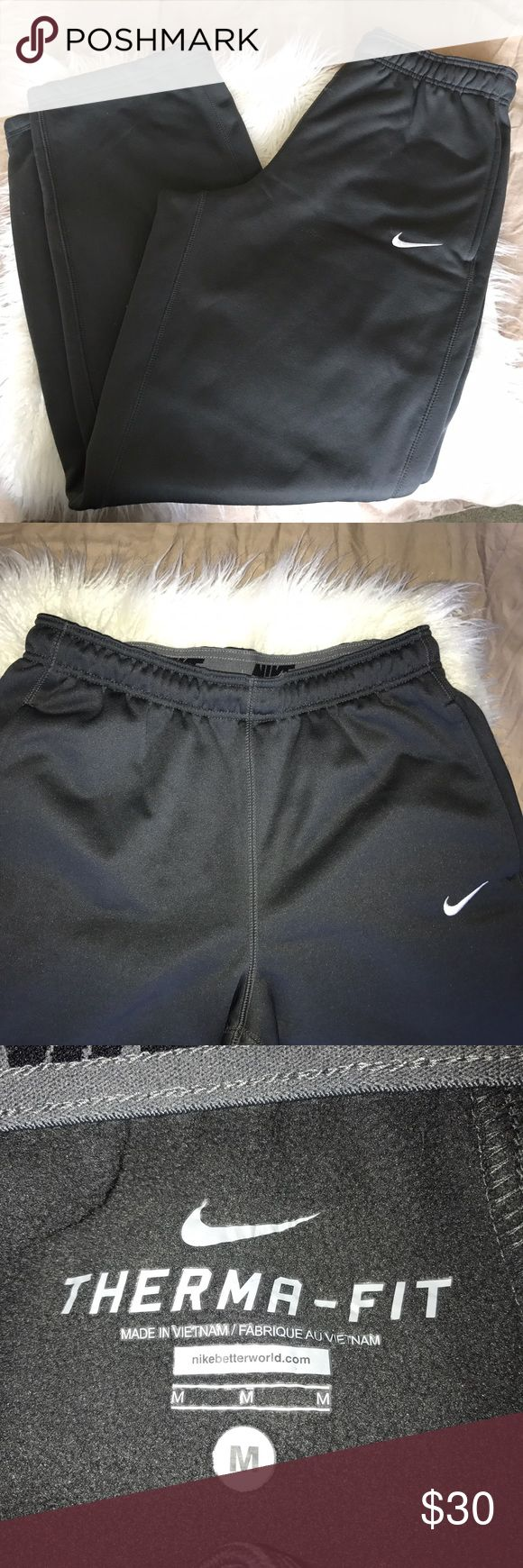 Men's Nike Therma-fit Sweatpants These are in brand new without tags condition. Dark grey with warm inside and sleeve outer. I Purchased these and the medium Nike shirt as a gift for my boyfriend but he wears a large in these so up for grabs! Offer! Bundle! Save! Nike Pants Sweatpants & Joggers
