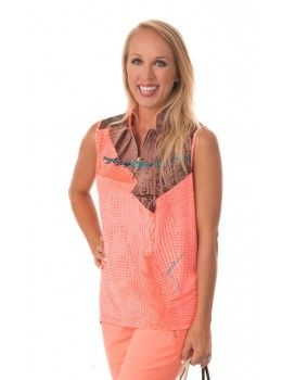 Jamie Sadock Radiance Women's Sleeveless Abstract Print Mock Neck Golf Shirt- Radiance Coral  Jamie Sadock Radiance Group- Fall Collection for Golf - Ladies Golf Apparel - Golf Outfits- Coral and Brown- Jamie Sadock Womens Golf - Golf Shirts- Golf Pants - on and off the course fashion - ladies new arrivals