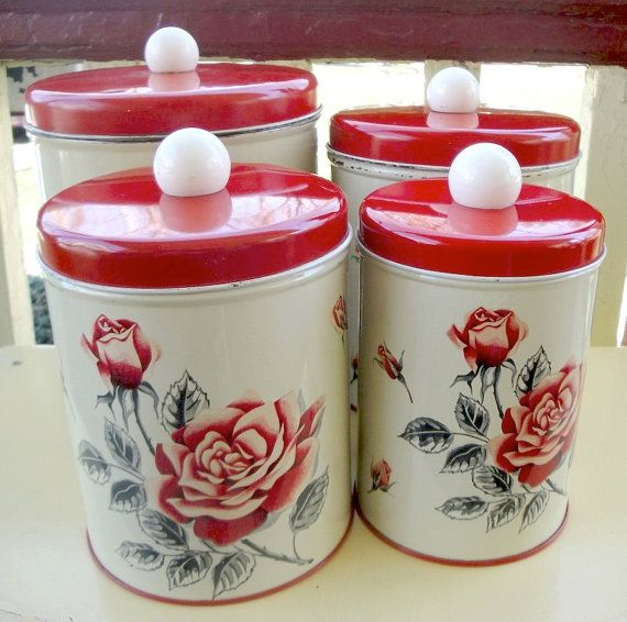 Vintage Tin Canister Set Red Rose 1940s Colorware