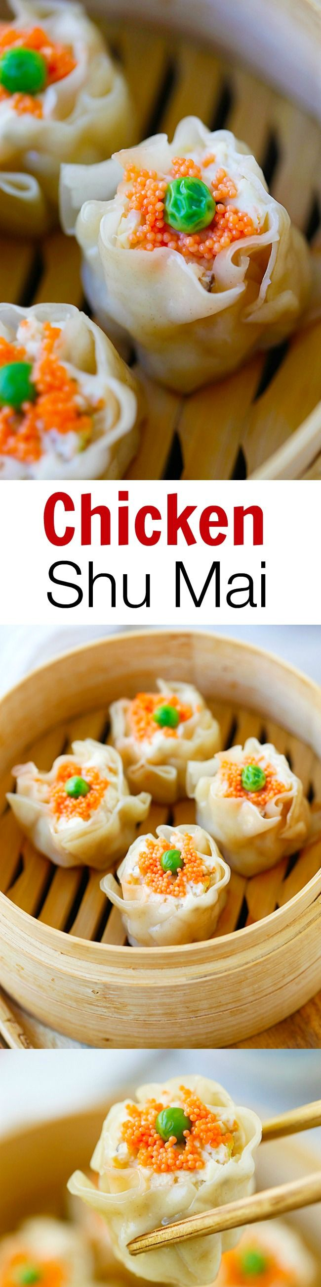 Chicken Shu Mai (Siu Mai) is a popular dim sum item. Learn how to make chicken shu mai with this quick and amazing recipe that is better than Chinatown!! | rasamalaysia.com #appetizer