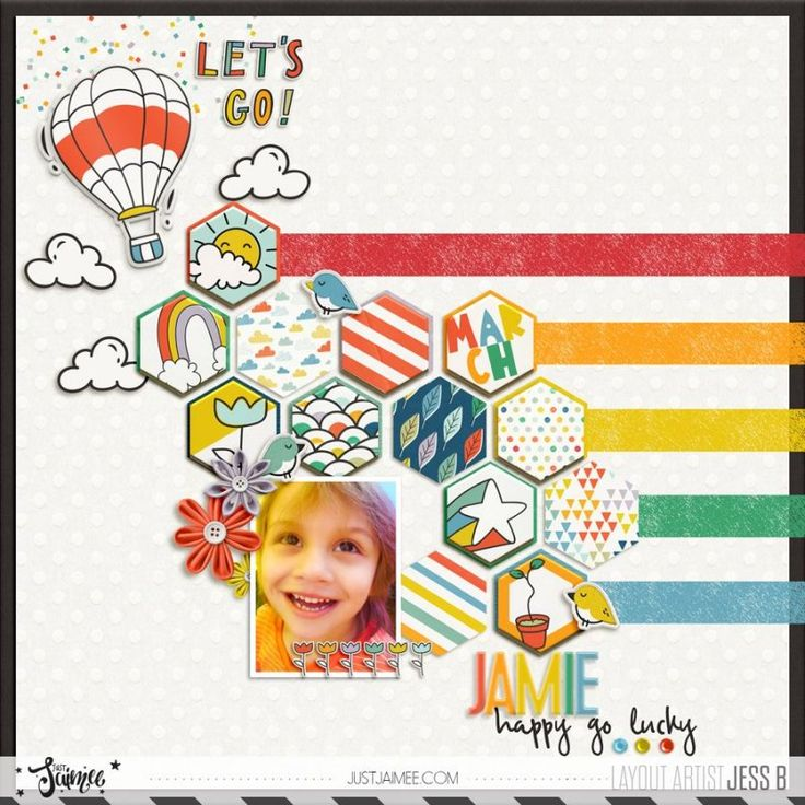 #JustJaimee #Rainbows #March #scrapbookinghttp://the-lilypad.com/store/Honeycomb-Dressed-Down-Digital-Scrapbook-Template.html