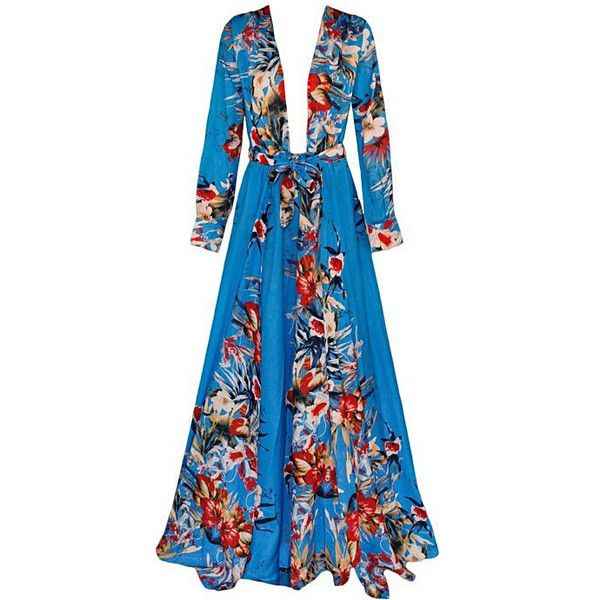 Blue Kimono Dress ($75) ❤ liked on Polyvore featuring dresses, blue dress, kimono dress, blue kimono, kimono maxi dress and sexy night out dresses