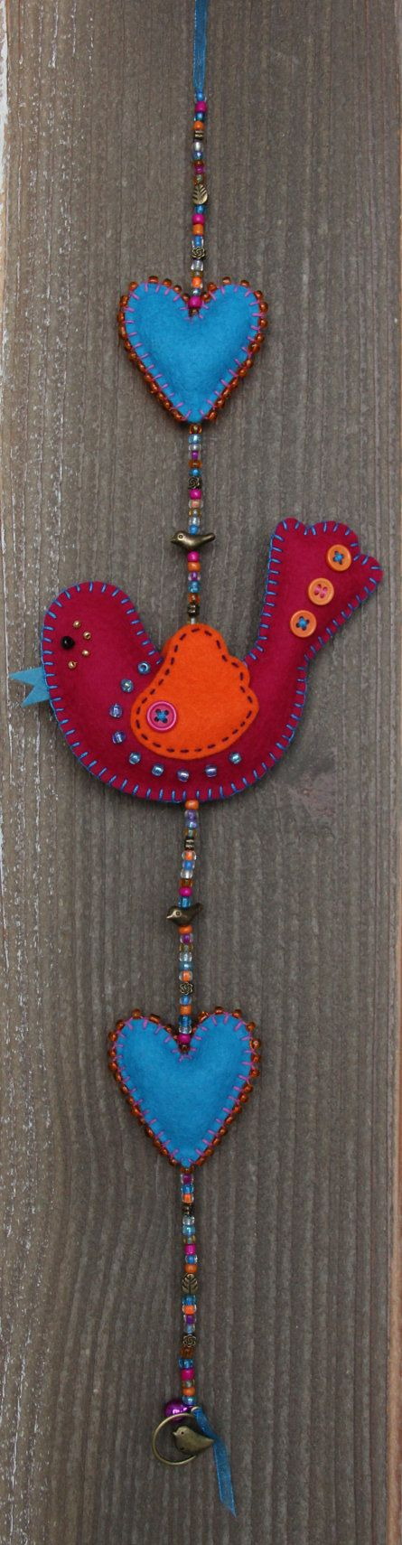 Felt bird decoration  Darkpink and orange van StudioSimone op Etsy, €20.00