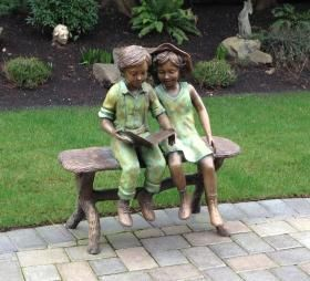 Children Reading Bronze Sculpture | Bronze Statue Boy and Girl Reading on a Bench | The Randolph ...