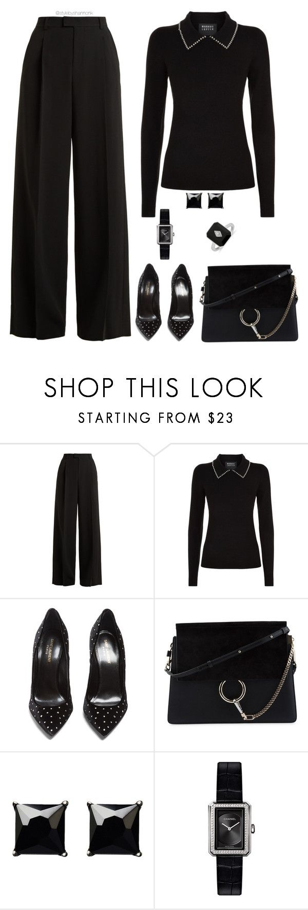 """""""All Black Everything"""" by stylebyshannonk ❤ liked on Polyvore featuring RED Valentino, Markus Lupfer, Yves Saint Laurent, Chloé, Witchery and Chanel"""
