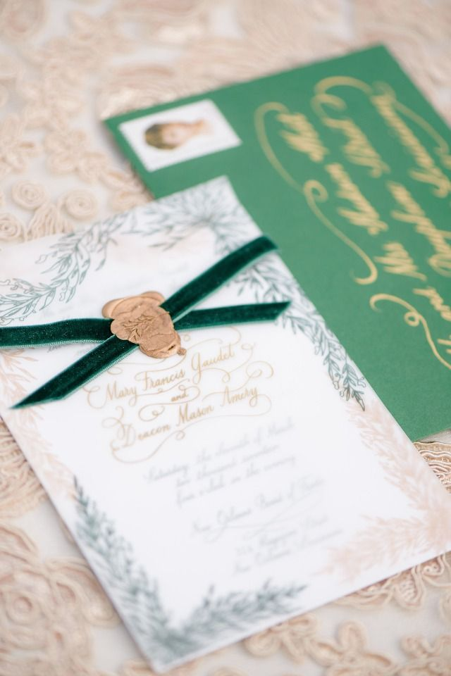 print yourself wedding invitations kit%0A emerald and gold wedding stationery