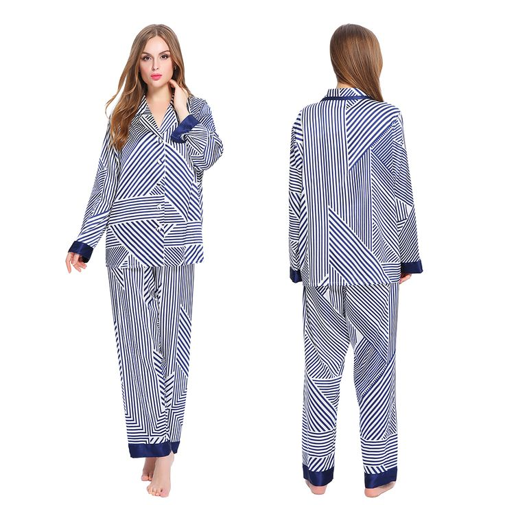 Women & Girls Silk #Pajamas Set with Blue & White Stripe