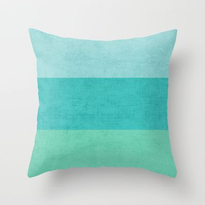 three stripes - teal Throw Pillow by Her Art - $20.00