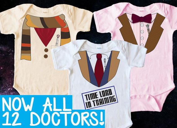 Doctor Who Baby Clothes DIY Iron on Transfer by PanicPrintables --- I fear if I do this, poor Amanda will never be out of Doctor themed clothing...