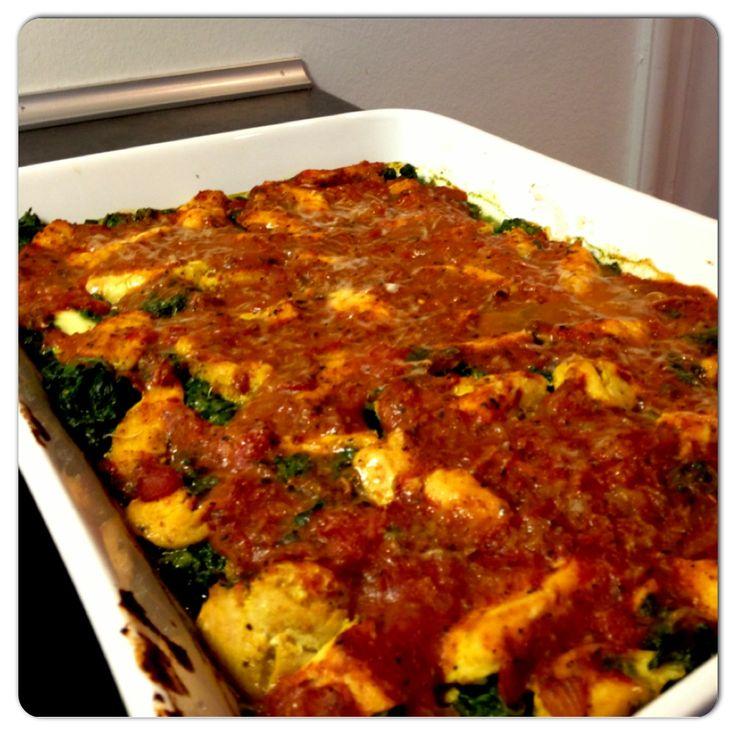 Kyllingelasagne uden pasta Kylling, 1 squash, 450 frossen spinat, 1 dåse hakkede tomater, 2,5 dl mælk, 3 spsk salsa. Bages i ca. 30 min. ved 180 grader.