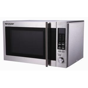 SHARP - R92ST _ Micro-ondes + Gril + Chaleur tournante - 5 niveaux de puissance - Programmation électronique - 5 programmes de cuisson automatique - Décongélation automatique Auto Defrost - Menus Pizza - 2 modes de cuissons enchaînées - Plat Crispy - Horloge - Minuteur - Plateau tournant Ø 31,5 cm - Cavité inox - Finition tout inox.