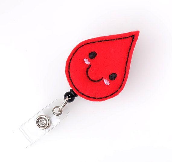 Bobby Blood Drop Felt Badge Reels  Lab Tech Badge Pull Phlebotomist Gifts Cute Badge Reels by BadgeBlooms, $7.00