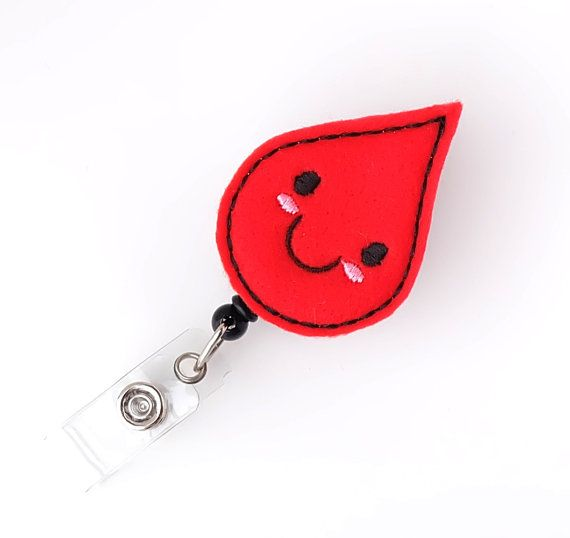 Bobby Blood Drop Felt Badge Reels  Lab Tech Badge Pull Phlebotomist Gifts Cute Badge Reels by BadgeBlooms, $7.00