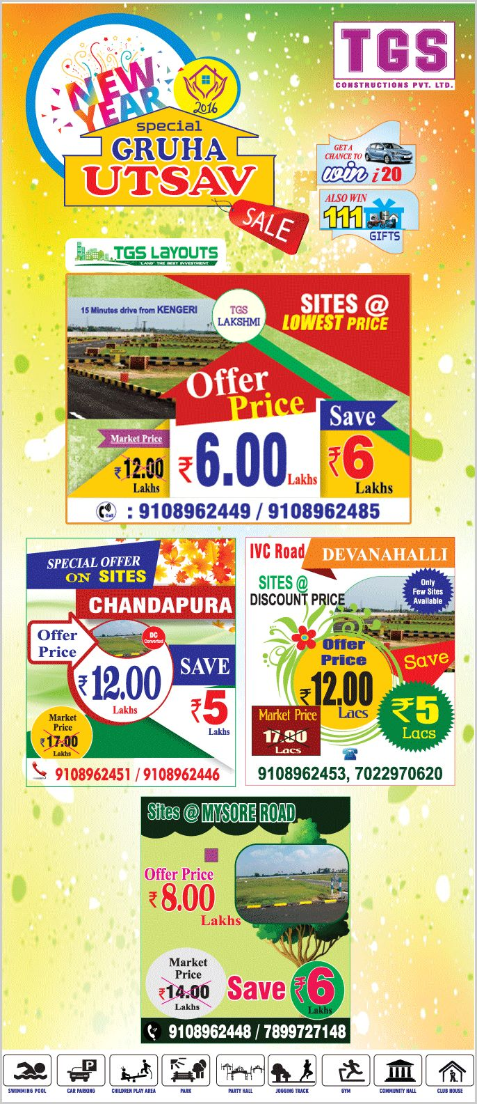 TGS Layouts announced a Gruha Utsav on the  occasion of new year that is land plots in Bangalore are at affordable price comparing to current market price in highly demanded area.