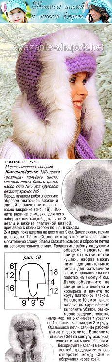 Зимняя шапка спицами, отороченная мехом | ВЯЗАНИЕ ШАПОК: женские шапки спицами и крючком, мужские и детские шапки, вязаные сумки