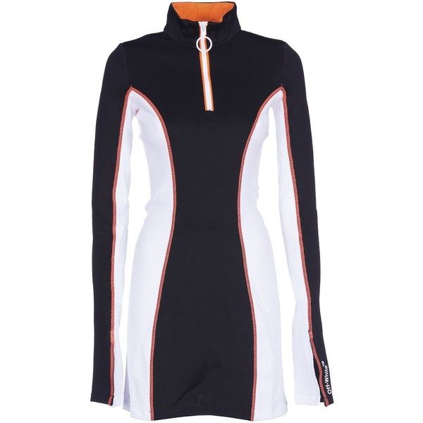 Off White Athleisure Mini Dress ($682) ❤ liked on Polyvore featuring dresses, multicolour, womenclothingdresses, champagne short dresses, longsleeve dress, multicolored dress, mini dress and long-sleeve mini dress