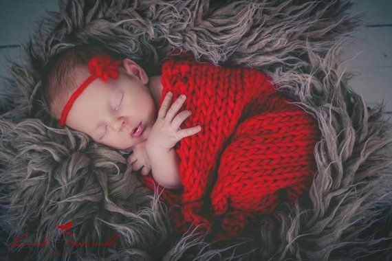 Chunky knitted baby blanketnewborn photo by plphotoprops on Etsy