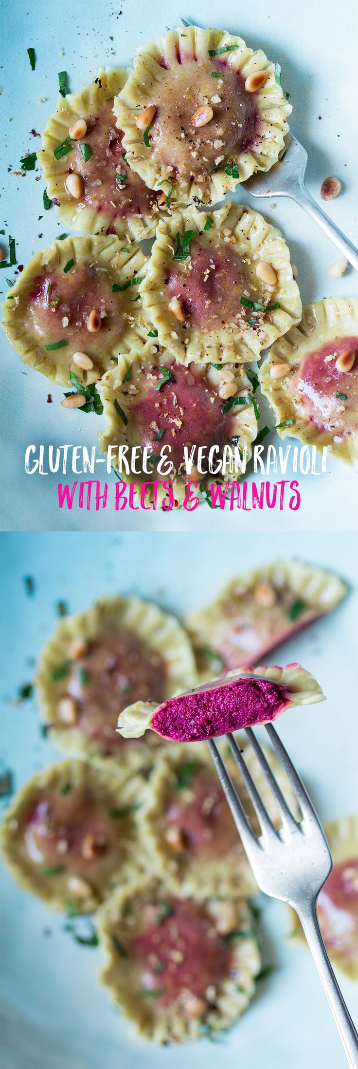 These #glutenfree and #vegan #ravioli filled with roasted #beetroot and #walnut filling make such an impressive #dinner They are. #easy to make too, no need for a pasta machine, a rolling pin, a cookie cutter and a fork is all you need. #recipe #recipes #eggless #pasta #italian #vegetarian #aquafaba