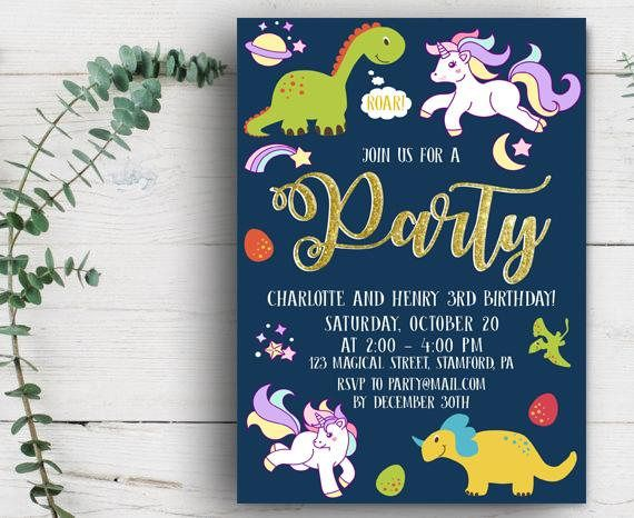Dinosaur And Unicorn Birthday Party Invitation Fourth Twin