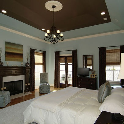 17 images about tray ceilings on pinterest trey ceiling for Brown blue bedroom ideas