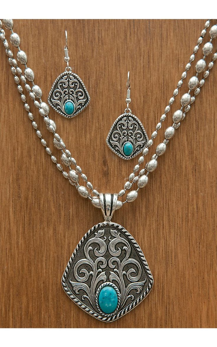 Montana Silversmiths® Antiqued Silver Filigree and Turquoise Jewelry Set