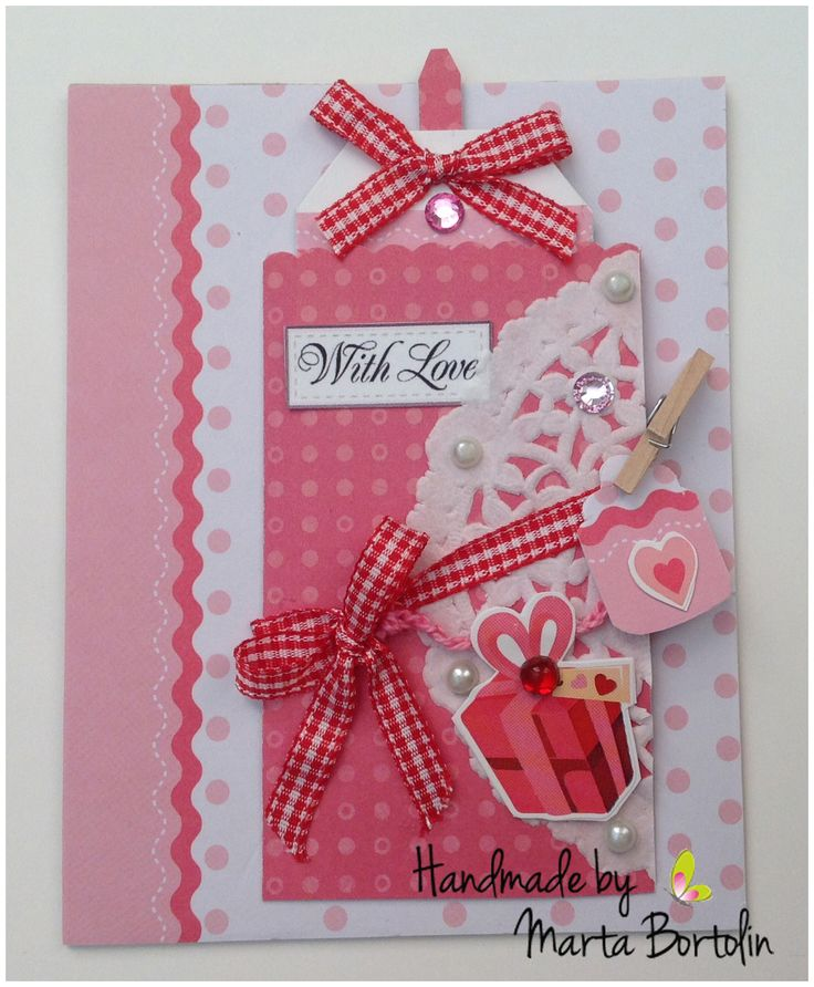 Card for all occasion, patterned paper, checkered ribbon, pearls, rhinestones and doily paper. Sold at Etsy