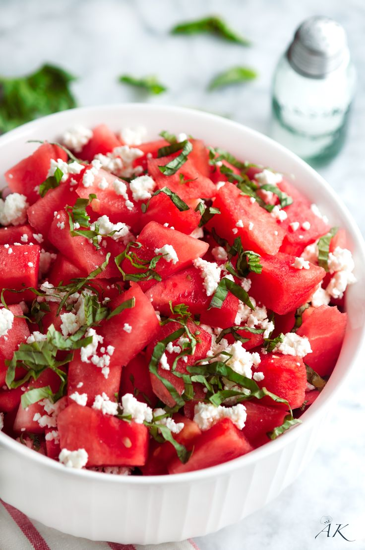Summertime Basil Watermelon and Goat Cheese Salad                                                                                                                                                                                 More