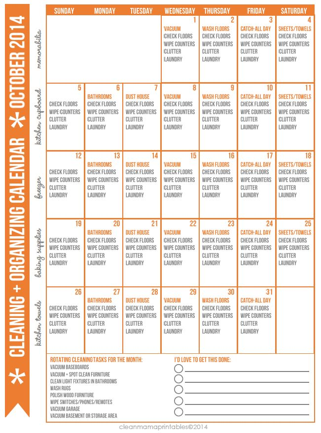 Monthly Organizing Calendar : Best images about free printables cleaning on
