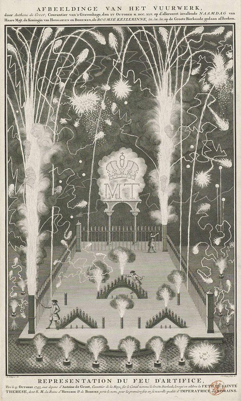 Jan Caspar Philips | Vuurwerk afgestoken op 15 oktober 1745, de naamdag van Maria Theresia, in opdracht van Anthoni de Groot, Jan Caspar Philips, 1745 - 1747 | Vuurwerk afgestoken op 15 oktober 1745, de naamdag van Maria Theresia, in opdracht van de uitgever Anthoni de Groot op de Grote Bierkade te Den Haag.