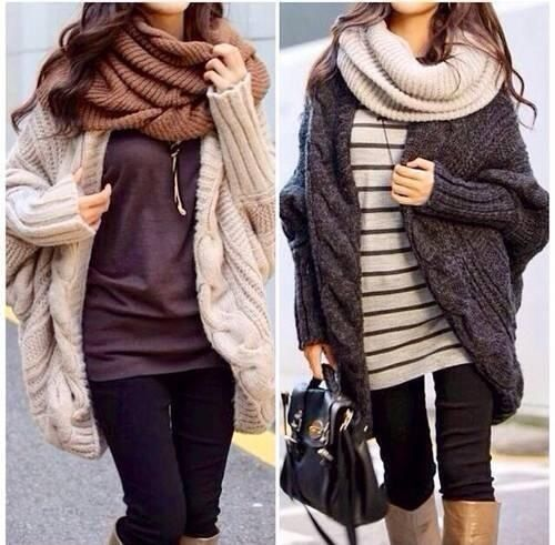 Winter clothes - big scarves, tight pants, boots, oversized sweaters