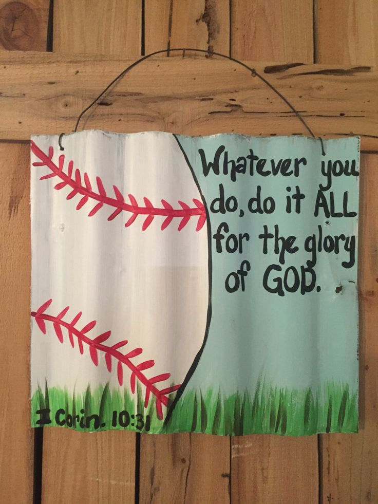 Baseball sign, tin sign, scripture sign, hand painted, boys room by TheGypsyChickDesigns on Etsy https://www.etsy.com/listing/467576529/baseball-sign-tin-sign-scripture-sign